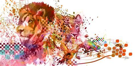 Lion Leaopard Aardvark Humming Bird Bee Digital Art Design