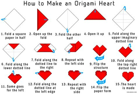 easy instructions  fold  origami red paper heart