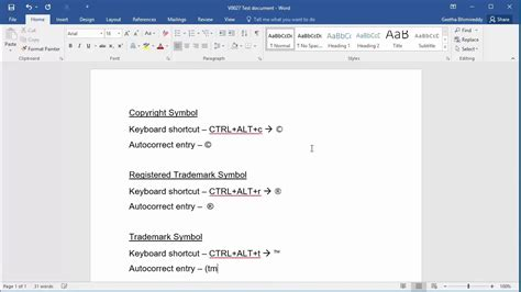 how to insert copyright symbol how to type copyright symbol registered trademark symbol and trademark symbol in word 2016