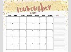 Printable November Calendar 2018 – Business Calendar Templates
