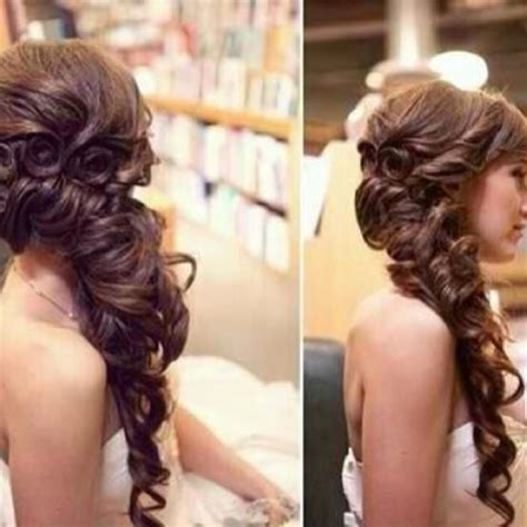 fancy side curly hairstyle girly hairstyles prom hair