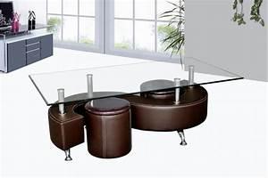 Table Basse Multifonction : table basse avec poufs wendy verre et simili cuir noir ~ Premium-room.com Idées de Décoration