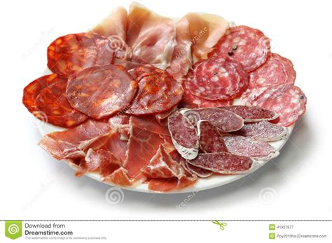 Various Types Of Spanish Salami, Sausage And Ham. Stock