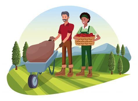 Fazenda animais e agricultor dos desenhos animados