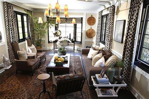 trellis curtains eclectic living room brown design