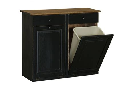 Double Trash Bin W Drawers