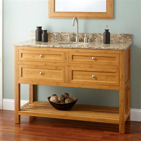 narrow depth thayer bamboo vanity  undermount sink