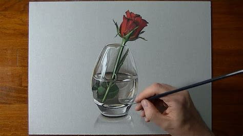 disegno  timelapse rosa  vaso  vetro youtube