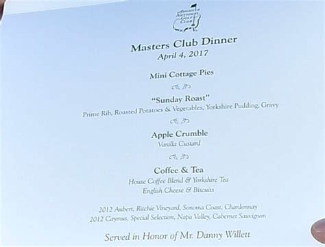 The Cottage Dinner Menu by Danny Willett S Masters Chions Dinner Revealed Daily