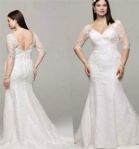 plus size lace wedding dress with sleeves pluslookeu With plus size sleeved wedding dress