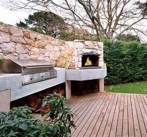 Terrasse Avec Muret : terrasse de jardin avec chemin e en pierre et barbecue ~ Premium-room.com Idées de Décoration