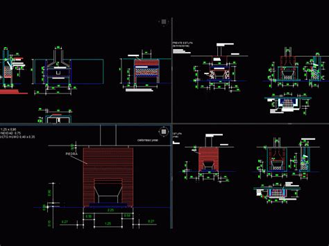 grill  fireplace dwg detail  autocad designs cad
