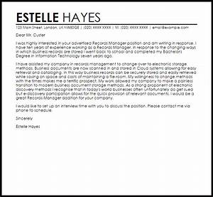 records manager cover letter sample livecareer With documents management jobs
