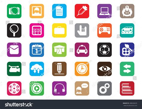 Thirty Flat Icons Design Desktop Icon Stock Vector