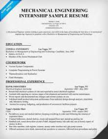 Exle Of Engineering Internship Resume by Mechanical Engineering Internship Resume Sle Resumecompanion