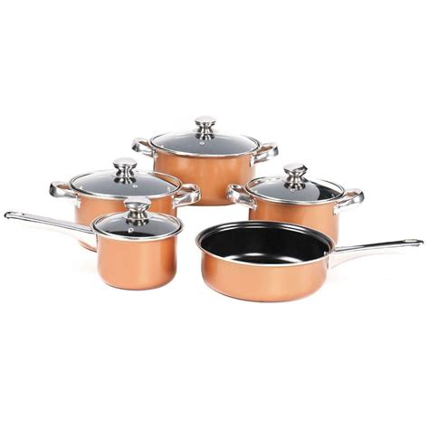 copper  pc cookware milk frying pan saucepan casserole pot kitchen cookware set