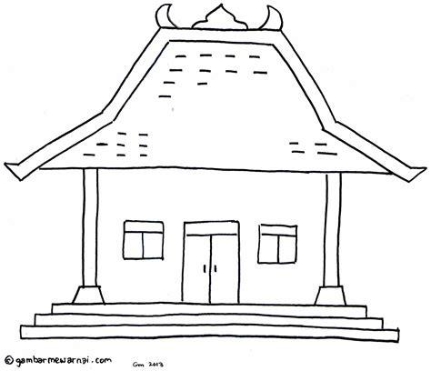 gambar mewarnai rumah adat drawing