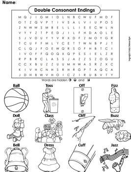 Double Consonant Endings (ll, Ss, Ff, Zz) Word Search Coloring Sheet