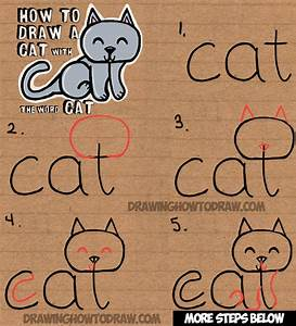 How to Draw a Cat from the word Cat Easy Drawing Tutorial ...