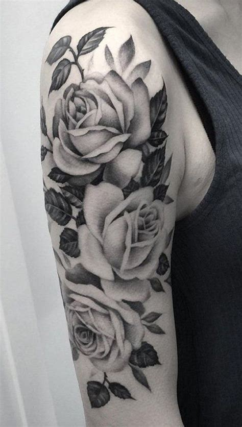 black  white roses tattoo    sleeve