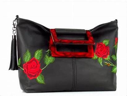 Rose Leather Embroidered Rambling Tote