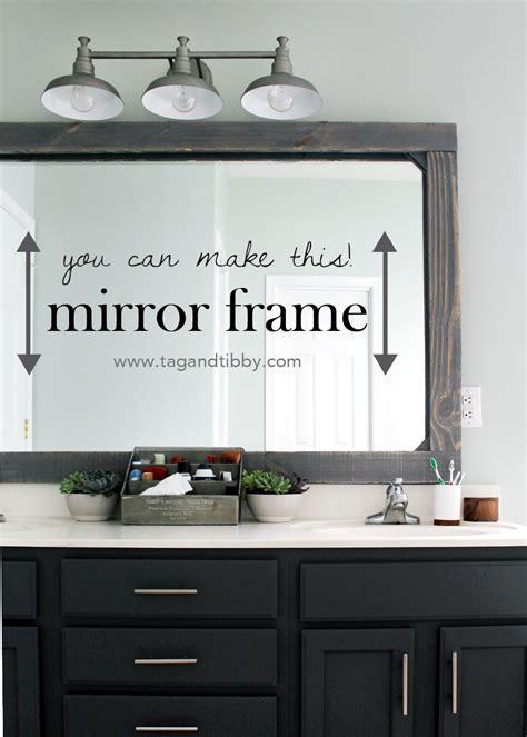 How To Make A Bathroom Mirror Frame by Diy Rustic Wood Mirror Frame Tag Tibby