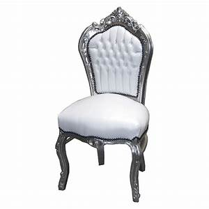 Leather synthetic silver-leafed white chair French luxury