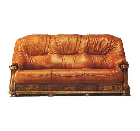 canapé bois canapé 3 places cuir et bois avec tiroir anvers mobilier