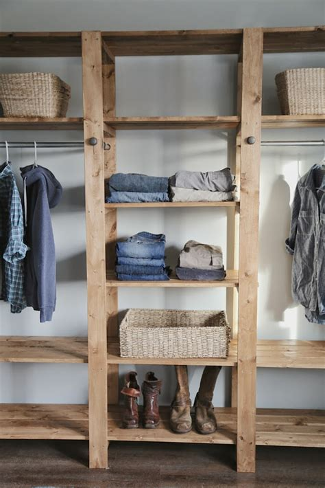 diy industrial style wood slat closet system  galvanized pipes home design garden