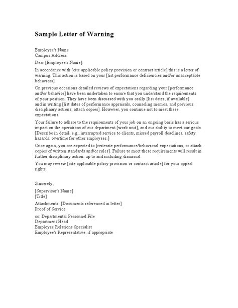 employee warning letter template letters  sample