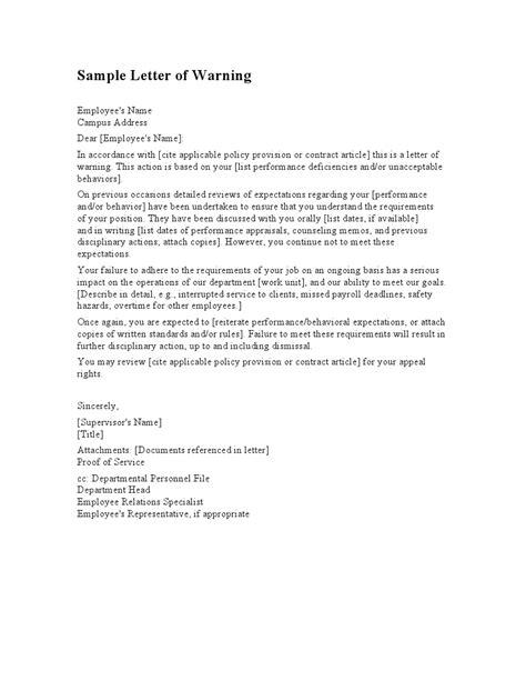 employee warning letter template letters  sample