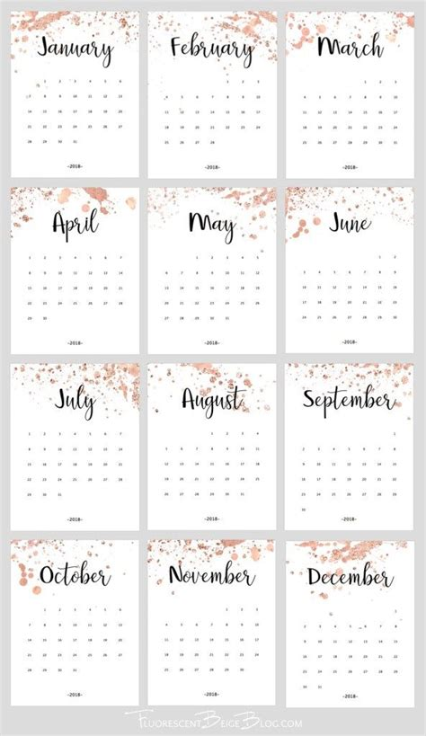 printable  rose gold splatter calendar calendar