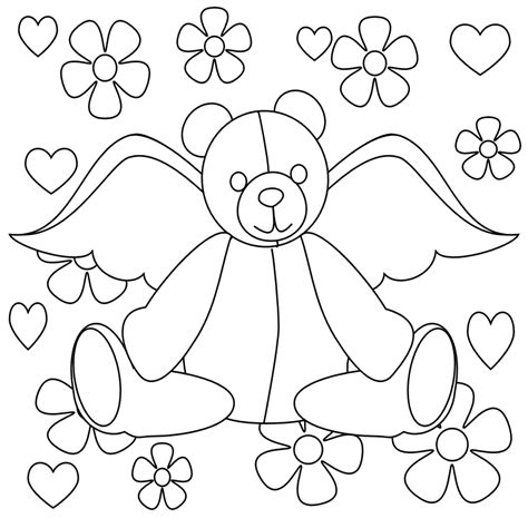 teddy bear coloring pages ideas angel  flowers