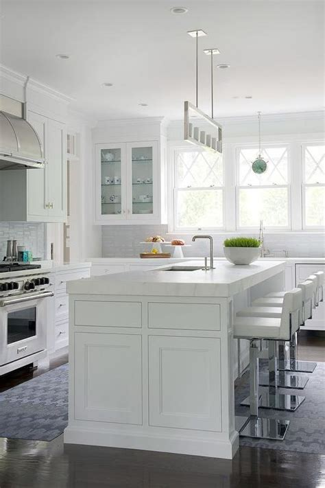 pics of kitchen islands kitchen island with thick marble countertop and white 4181