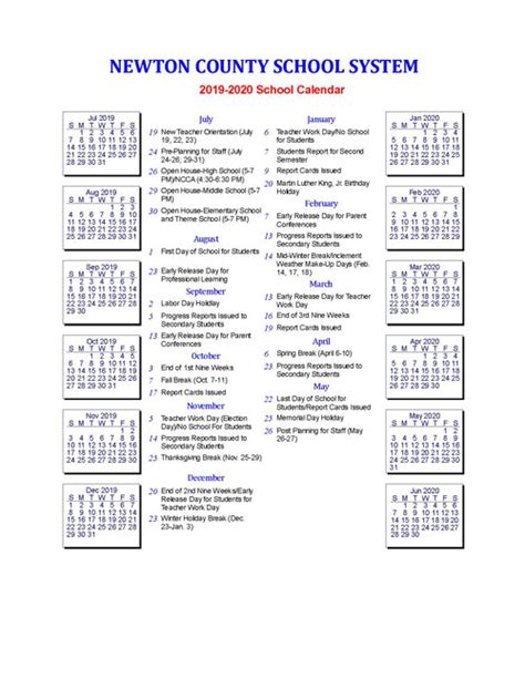 department  education calendar