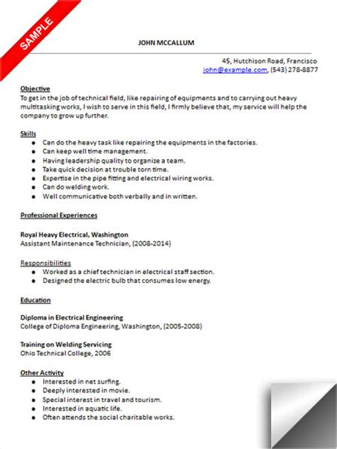 machine maintenance technician resume objective maintenance technician resume sle