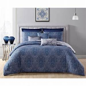 Addison, House, Candice, 8-piece, Navy, Blue, King, Comforter, Set, With, Euro, Shams-cdc8cskingghnv