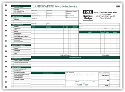 landscaping work orderinvoice form landscaping