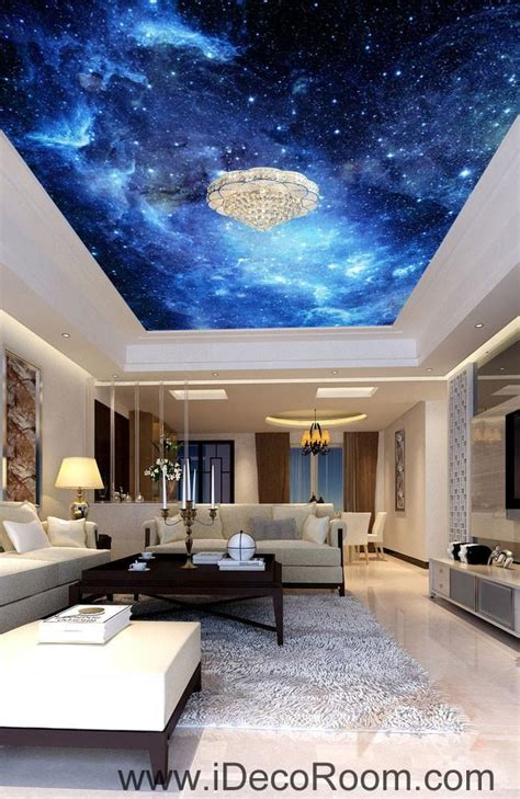 galaxy stars night sky  ceiling wall mural wall paper
