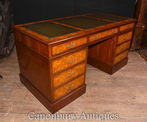 ebay bureau regency walnut knee pedestal desk writing table