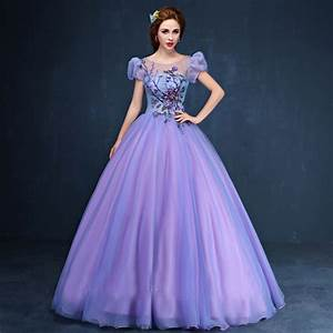 purple beading embroidery bubble ball gown medieval dress ...