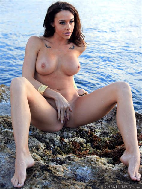 Chanel Preston naked outdoors showing hot Pussy