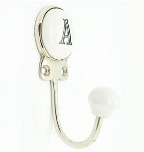 ceramic alphabet or number letter wall coat rack hook With ceramic letter hook