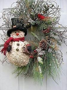 Christmas Winter Primitive Snowman Floral door Wreath