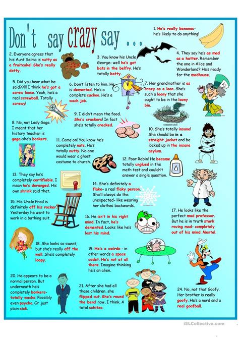 idioms  crazy poster vocabulary list worksheet