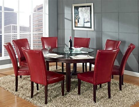 lazy susan with leather rectangle fluffy area rug beneath leather chairs and