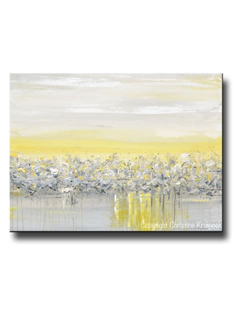 original art yellow grey abstract painting modern coastal wall art gold contemporary art by
