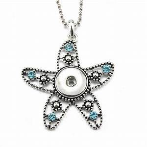 New Starfish Snap Pendant Necklace for Women 18mm Snap ...