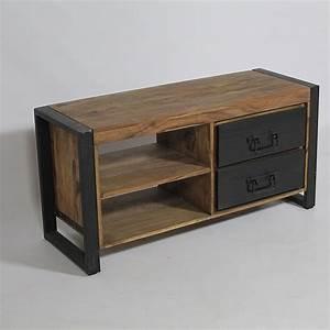 Meuble Tv Manguier : meuble tv industriel manguier naturel projets essayer pinterest industrial woods and salons ~ Teatrodelosmanantiales.com Idées de Décoration