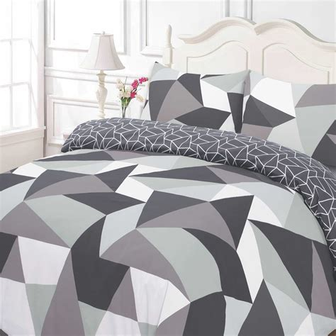 Black And White Single Duvet Cover by Dreamscene Geometric Shapes Duvet Cover With Pillowcase